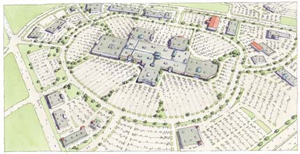 Rendering: a standard mall, surrounded by parking lots.