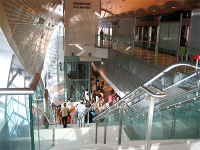 Dubai Metro: The exit stairway at the Mall of the Emirates station.