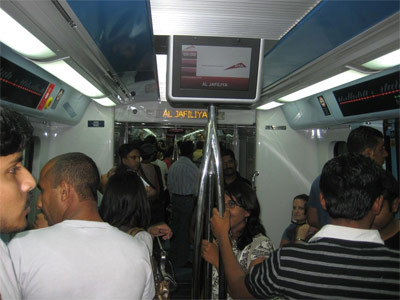 Dubai Metro: Inside the train at Al-Jafiliya (a major shopping street).