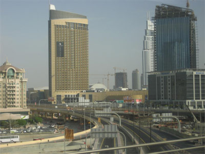 Dubai Metro: A view of the Dubai Mall from the elevated tracks.