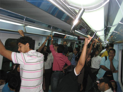 Dubai Metro: Inside a crowded southbound train.