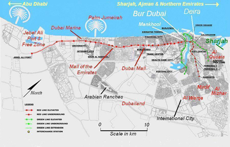 dubai islands map. Map of Dubai showing Metro Red