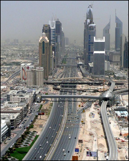 A view down Dubai's Sheikh Zayed Road