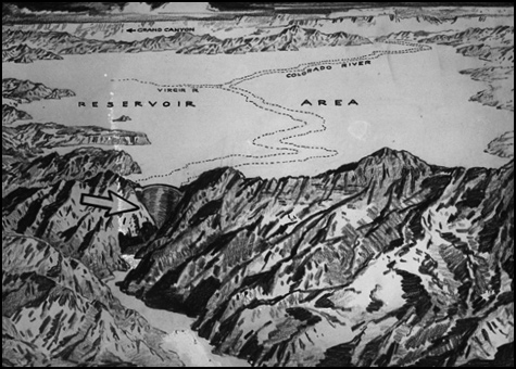 An early drawing of what would become Hoover Dam and Lake Mead, Las Vegas, NV