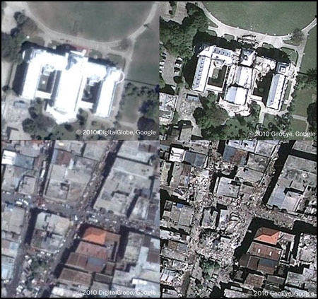 Before and after images of Haiti