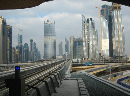 A view from inside the Dubai Mall Metro Station in Dubai