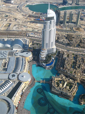 View from the 124th floor of Burj Khalifa of the Lagoon and Dubai Mall