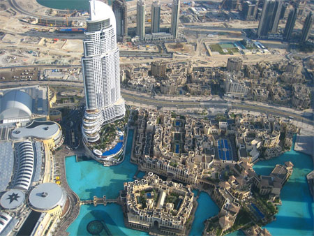 View from the 124th floor of Burj Khalifa of the Dubai Mall, the Lagoon, Old Town, and The Address