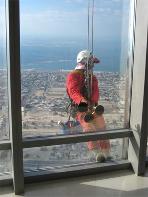 A window washer 1,700 feet up