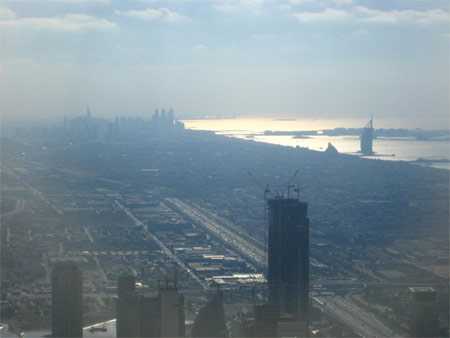 View from the 124th floor of Burj Khalifa looking southwest