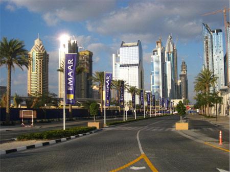 Image: Office towers along Sheikh Zayed Road near Dubai Mall Metro Station
