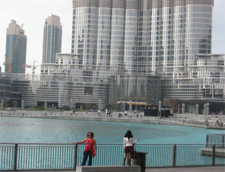 Image: The base of Burj Khalifa from the Dubai Mall lagoon