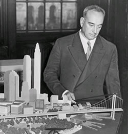 Robert Moses with model of the proposed Brooklyn Battery Bridge, 1939
