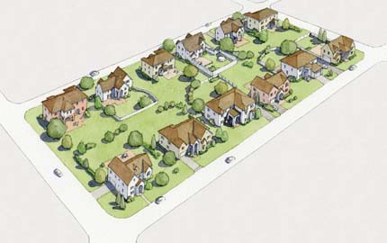 Rendering: a block full of oversized houses on large lots.