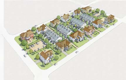 Rendering: the same block, with backyards turned into buildings.