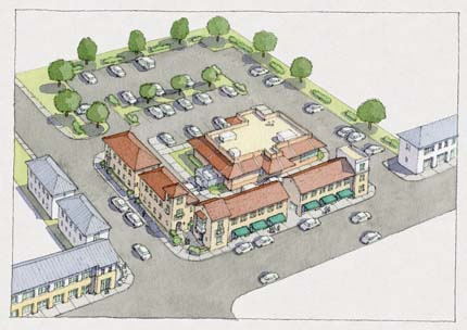 Rendering: New buildings have surrounded the drive-through.