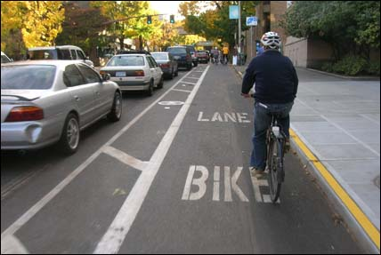 PHOTO: A bike lane in Portland.