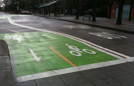 Image: New bicycle lanes in Portland.