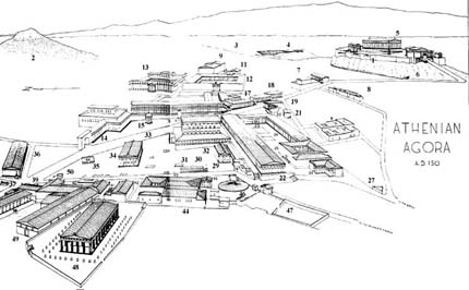 A sketch of the Greek agora  Ancient Greek Marketplace