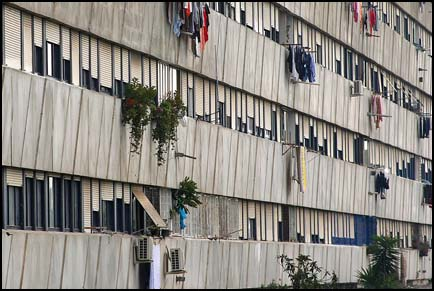 Photo: a depressing view of the front of the Corviale Building.