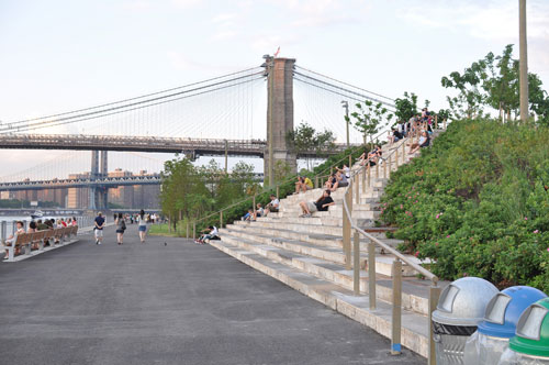 brooklyn bridge park stairs with bridge pier in background