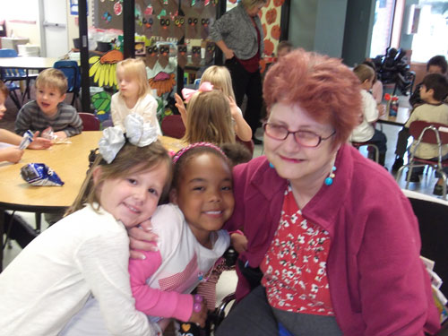 children and senior citizen at grace living center in oklahoma