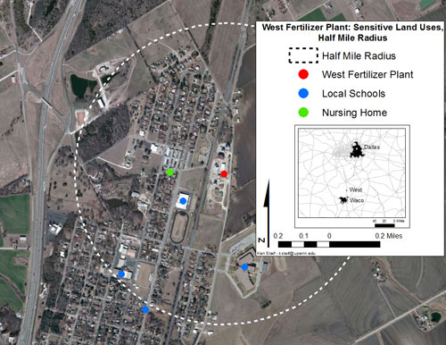 Map of 1/2 mile radius around west fertilizer plant