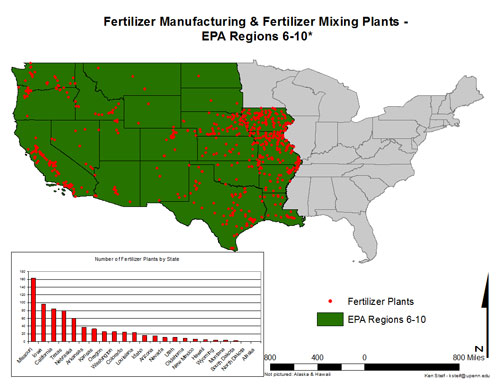 map of fertilizer manufacturing and mixing plants across the 24 states that make up EPA regions 6 through 10