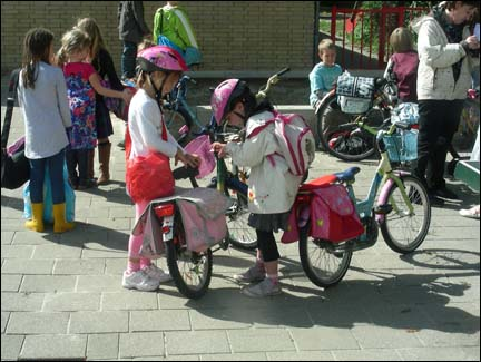 Dutch children on bikes.