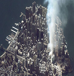 Lower Manhattan and the World Trade Center shortly after the attack.