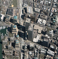 Lower Manhattan and the World Trade Center before attack.