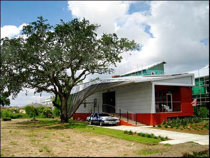 A new home built in New Orleans by Brad Pitt's Make It Right Foundation.