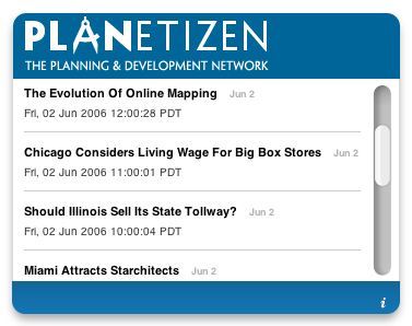 Screenshot of Planetizen Widget showing latest Planetizen headlines