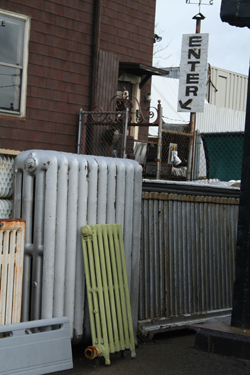 A radiator and other rusting junk.