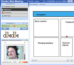 Image of a sample DimDim web conference with video and a whitebaord
