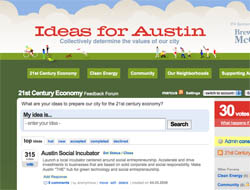 Screenshot from 'Ideas for Austin' website on UserVoice