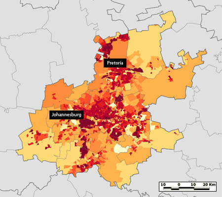 Map of Population Density in Gauteng Province