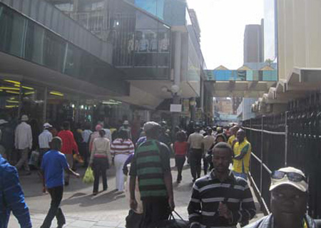 Pedestrianized mall on Small Street in Johannesburg CBD