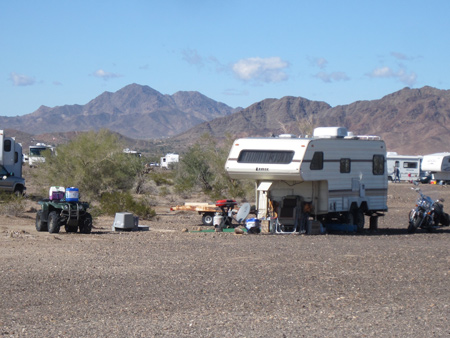 Another campsite, with other recreational vehicles parked nearby.