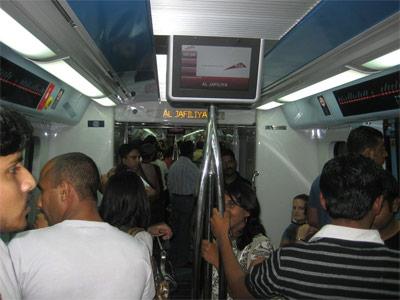 Inside the train at Al-Jafiliya (a major shopping street).