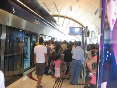 Disembarking at the Mall of the Emirates station.