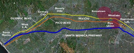 Map of Los Angeles showing Pico and Olympic Boulevards