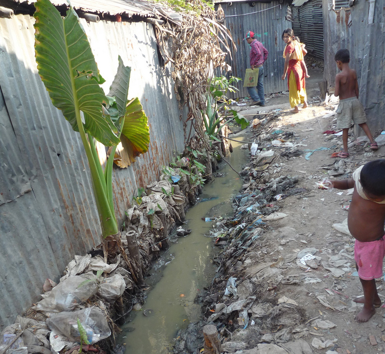Open water in Dhaka slum