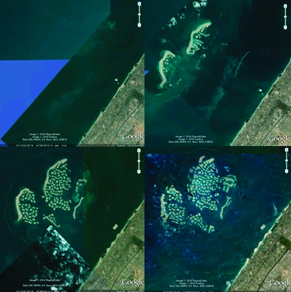 Google Earth images showing Dubai's The World project being built from 2004-present.