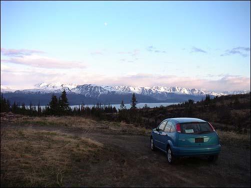 Car in natural landscape.