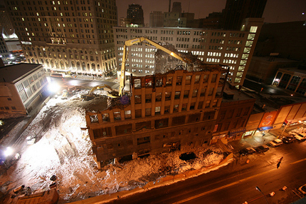 A building being demolished in Detroit.