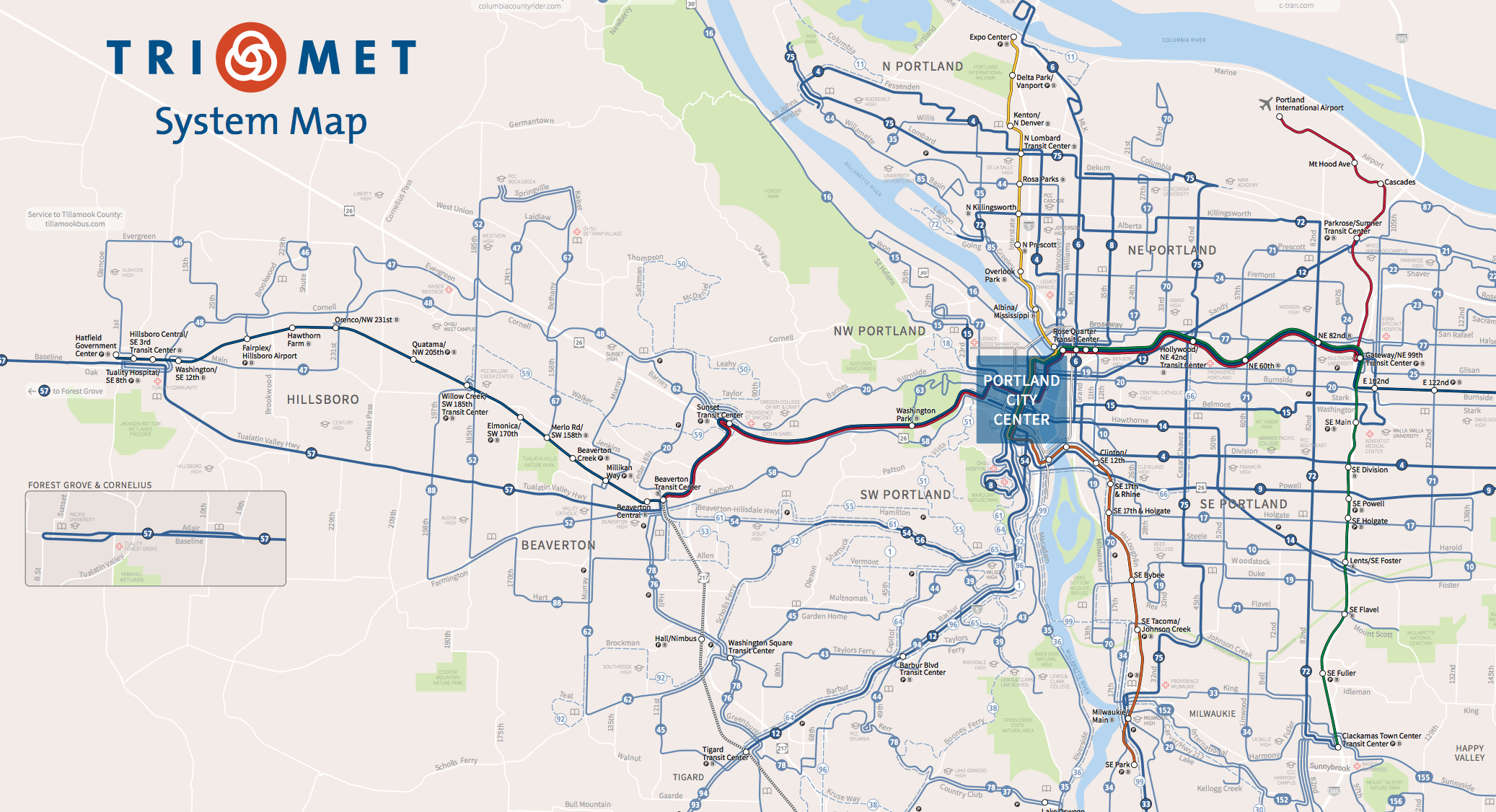 How to Design a Better Bus Transit Map - News | Planetizen Tri Met Map on unitrans map, target map, ripta map, comcast map, transit map, bc ferries map, reed college map, nctd map, kaiser permanente map, portland streetcar map, miami train station map, transperth map, fbi map, macy's map, modot map, microsoft map, metrobus map, genentech map, translink map, skytrain map,