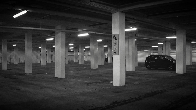 Image result for commuters beneath the parking garage