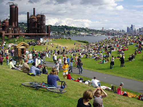 Crowds of people at Gas Works Park in Seattle