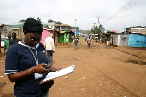 map kibera participant with clipboard